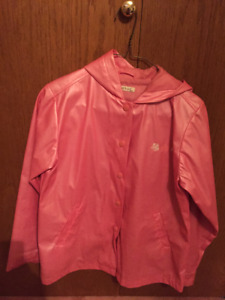Spring pink raincoat with hood