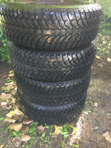 Four 195 65 R15 WINTER TIRES ON RIMS FOR SALE FOR 450$$$$
