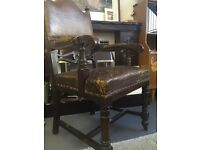 Antique Highback brown leather throne gothic style chair