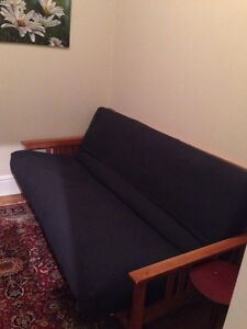 Futon with solid wood frame