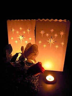 100 x Stars White Candle Paper Bag Lantern Wedding Path Outdoor decor BULK BUY - Buy Paper Lanterns