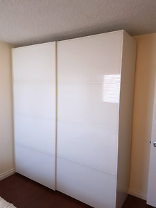 IKEA PAX Wardrobe with slow close frosted sliding glass doors