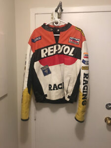 Leather motor bike jacket and pants for sale