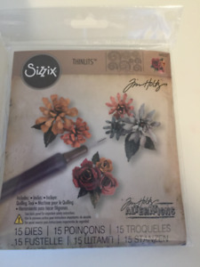 Sizzix Thinlits Die Set 15PK w/Quilling Tool - Tiny Tattered Flo