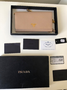 Authentic Prada Saffiano Leather wallet on chain