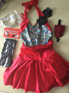 Jazz/tap costume by Curtain Call in black and red with sequins