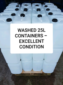 25 LITRE 25L L CLEAR / WHITE PLASTIC CONTAINERS WATER DRUMS JARS