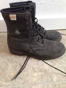 Leather steel toe work boots.