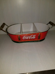 Coca-Cola Advertising Tin With A White Plastic Insert Divided S