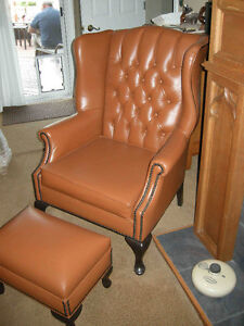 vintage / antique impressive new leather wing back chair