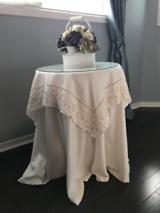 Decorators Round Wood Table with Glass Top