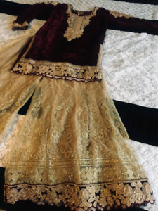 Beautiful Maroon and Golden gharara