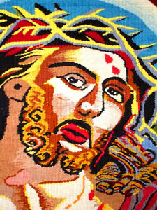 CROWN of THORNS Jesus HAND LOOM WOVEN TEXTILE wall hanging Cambridge Kitchener Area image 4