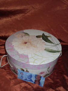 pink and yellow floral pattern large HAT BOX