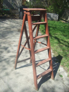 rustic wooden stepladder