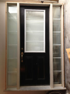 STEEL DOOR AND FRAME, WITH SIDE WINDOWS