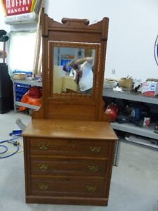 antique dresser with large swing style mirror.original