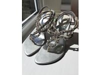 Silver crystal and bead embellished size 3 sandal