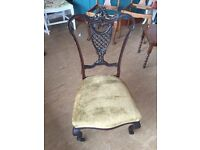 Gorgeous Vintage Carved Wood Chair on Castors - Can Deliver