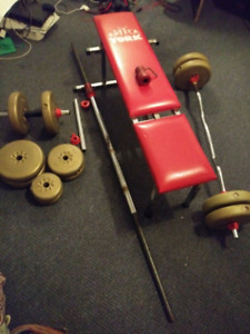 Small weight set with bench