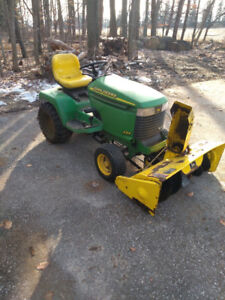 "John Deere 325 Garden Tractor with 42"" snowblower and 48"" mower"