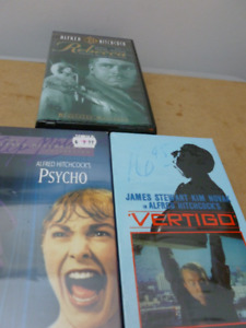 Lot of 3 Alfred Hitchcock VHS Movies Psycho Vertigo Rebecca