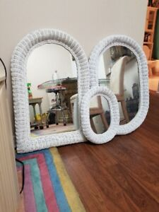 White Wicker Set of Mirrors Like New.