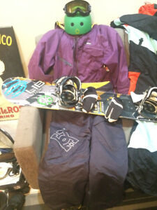 Snowboard, bindings, boots, jacket FULL SET