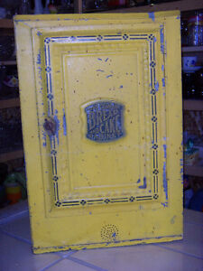antique metal bread and cake cabinet