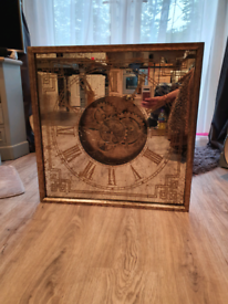 Fabulous Large Gold Wall Clock With Moving mechanism Brand New