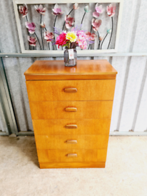 Teak five drawer chest of drawers