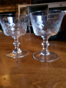 Crystal glasses and sugar and cream containers