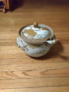 Hand Made Bowl With Ladle Pottery