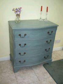 BOW FRONTED CHEST OF DRAWERS PAINTED BLUE