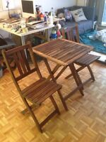Ikea wooden table set for outdoor or indoor