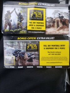 2 Delta force paint ball coupons for sale