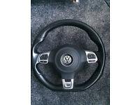 Volkswagen golf mk6 gtd multi functional flat bottom steering wheel with airbag