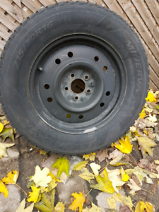 Set of four Winter tires with steel rims for sale.