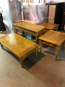 Pine Coffee Table, Sofa Table, 2 Side Tables