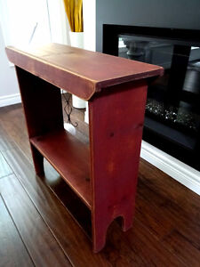 antique PINE BUCKET BENCH distressed russet SHABBY farm COUNTRY Cambridge Kitchener Area image 2