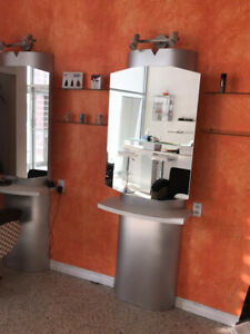 Custom made hair salon stations with light fixtures included
