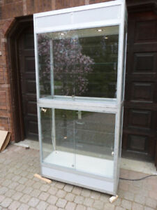 "SCHADEBO LARGE UPRIGHT GLASS SHOW CASE 39.5""W X 80"" T aa"