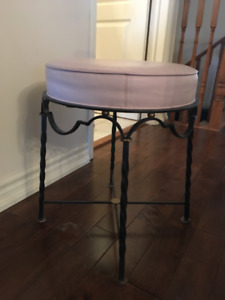 Wrought Iron Foot Stool  with Light Pink Leather Topper