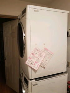New 2 yrs old washer and dryer stackable or floor...