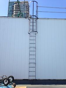 Fixed vertical caged ladder