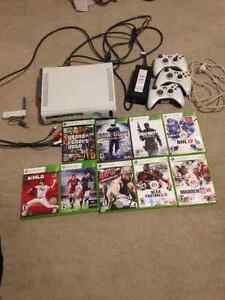 X-Box 360 System, 9 games, 3 Controllers, Wireless Connector