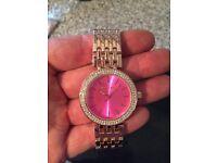 Michael Kors Ladies Watches. Pink Rose Gold Diamante