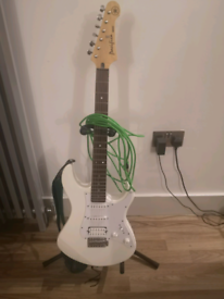 Yamaha Pacifica guitar with stand, lead and strap