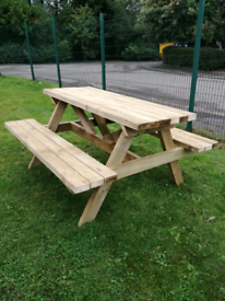Large wooden picnic table Handcrafted 1.6m long