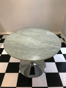 Structube Marble Top Round Dining Table 102cm Diameter